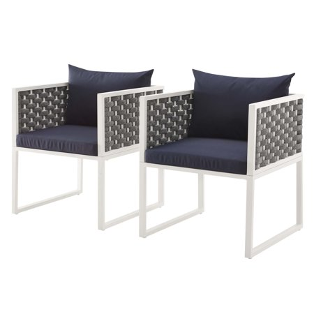 Modern Contemporary Urban Outdoor Patio Balcony Garden Furniture Side Dining Chair Armchair, Set of Two, Fabric Aluminium, White Navy ()