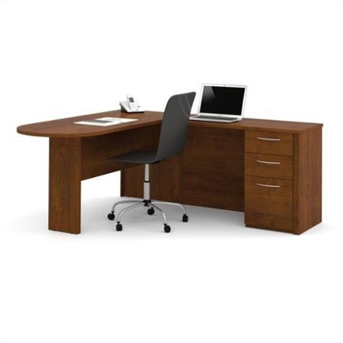 Bestar Embassy L-Desk in Tuscany Brown Finish