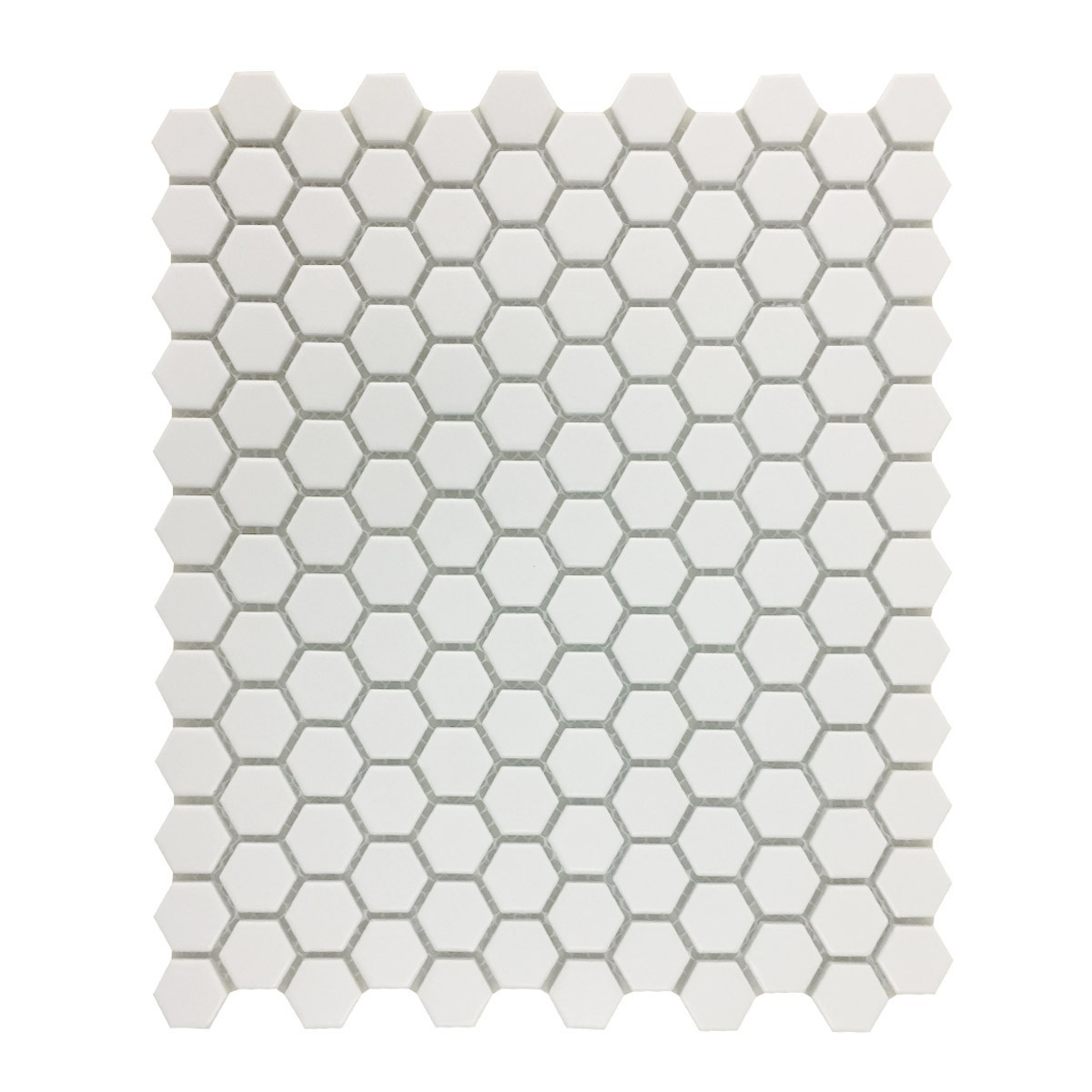 "White Matte Porcelain Mosaic Hexagon Floor Wall Tile 1 Tile Sheet 10.25"" x 11.8"""