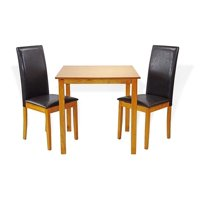 Dining Kitchen Set of Classic Square Table and 2 Fallabella Chairs Solid Wooden, Maple