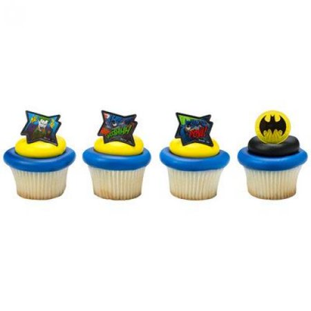Batman - Pow Whooshhh and Joker - Cupcake Rings - 24 ct