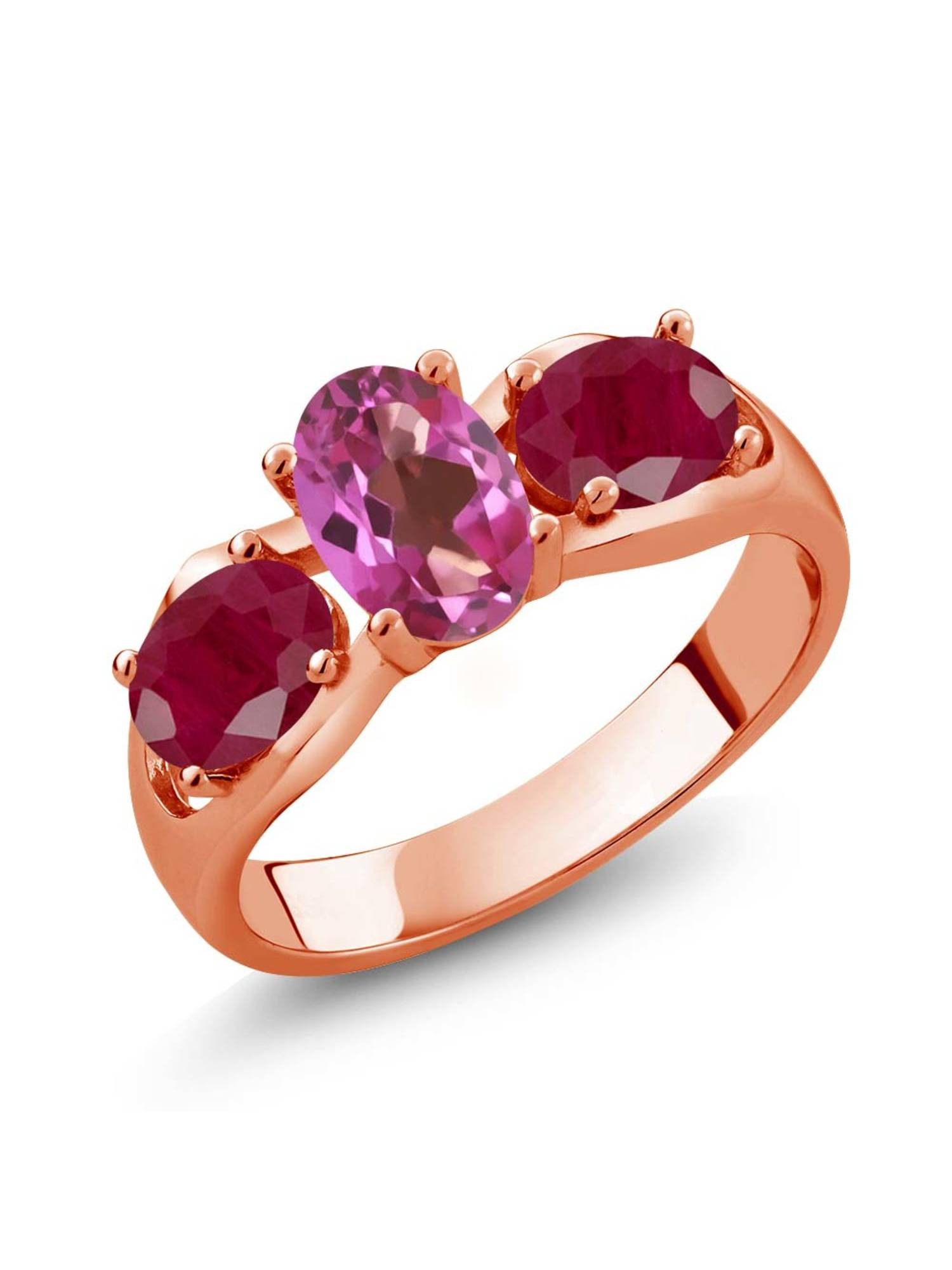 2.00 Ct Oval Pink Mystic Topaz Red Ruby 18K Rose Gold Plated Silver Ring by