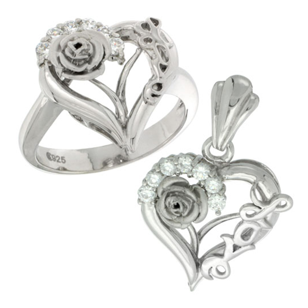 Sterling Silver LOVE Rose Heart Ring & Pendant Set CZ Stones Rhodium Finished