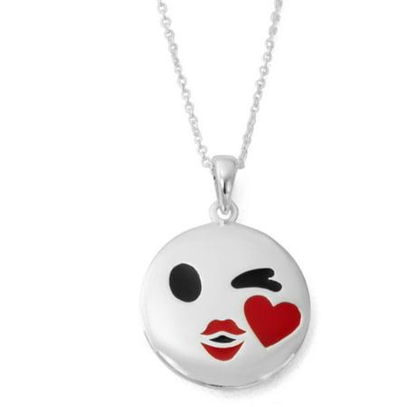 Silver-Plated XOXO Winking Emoji Pendant, 18