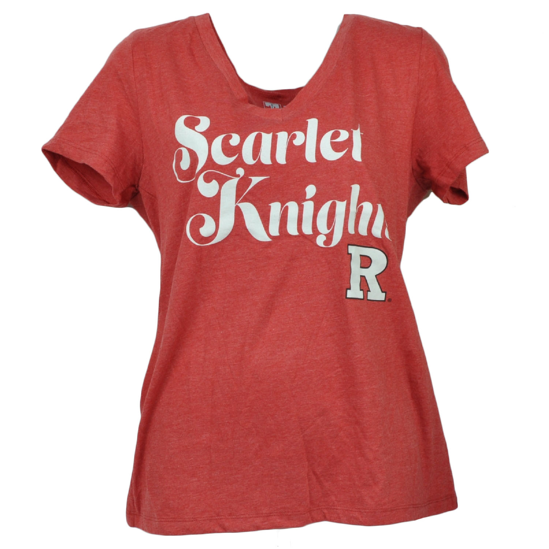 NCAA Rutgers Scarlet Knights V Neck Tshirt Tee Red Short Sleeve Womens Red XLarg