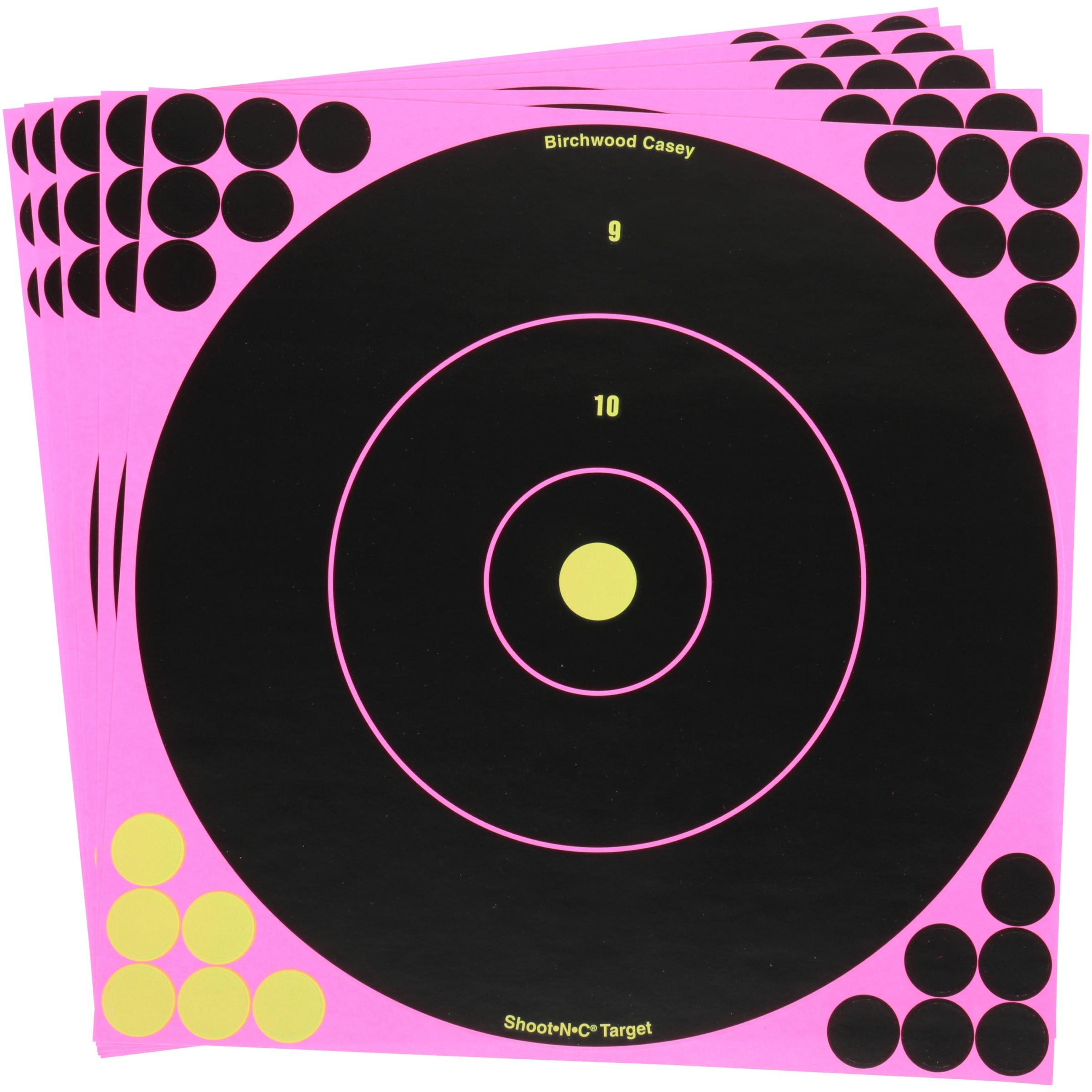 """Shoot•N•C® 12"""" Pink Bull's-Eye Target - 5 targets"""