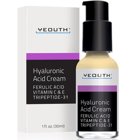 YEOUTH Hyaluronic Acid Cream Face Moisturizer for Dry Skin, Anti Aging Face Cream, Anti Wrinkle, Pore Minimizer, Even Skin Tone with Vitamin C, Vitamin E, Ferulic Acid, Tripeptide