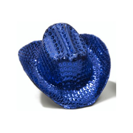 Women's Blue Sequin Mini Micro Cowboy Cowgirl Wild West Hat](Cowgirl And Cowboy Couples Halloween Costumes)