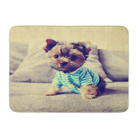 SIDONKU Dog Cute Yorkie in Toned Retro Vintage Best Pet Doormat Floor Rug Bath Mat 23.6x15.7