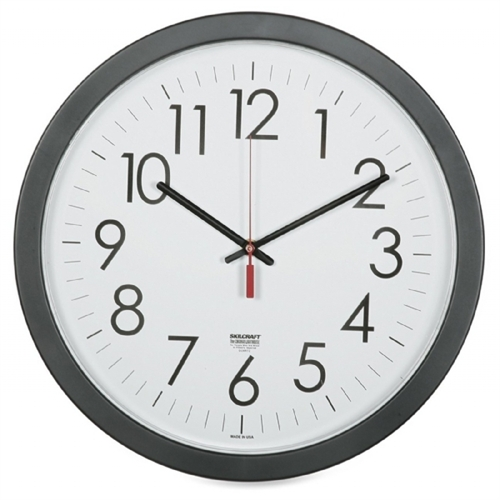 "Skilcraft Wall Clock, Plastic Body, 14.5"", Black 6237483"
