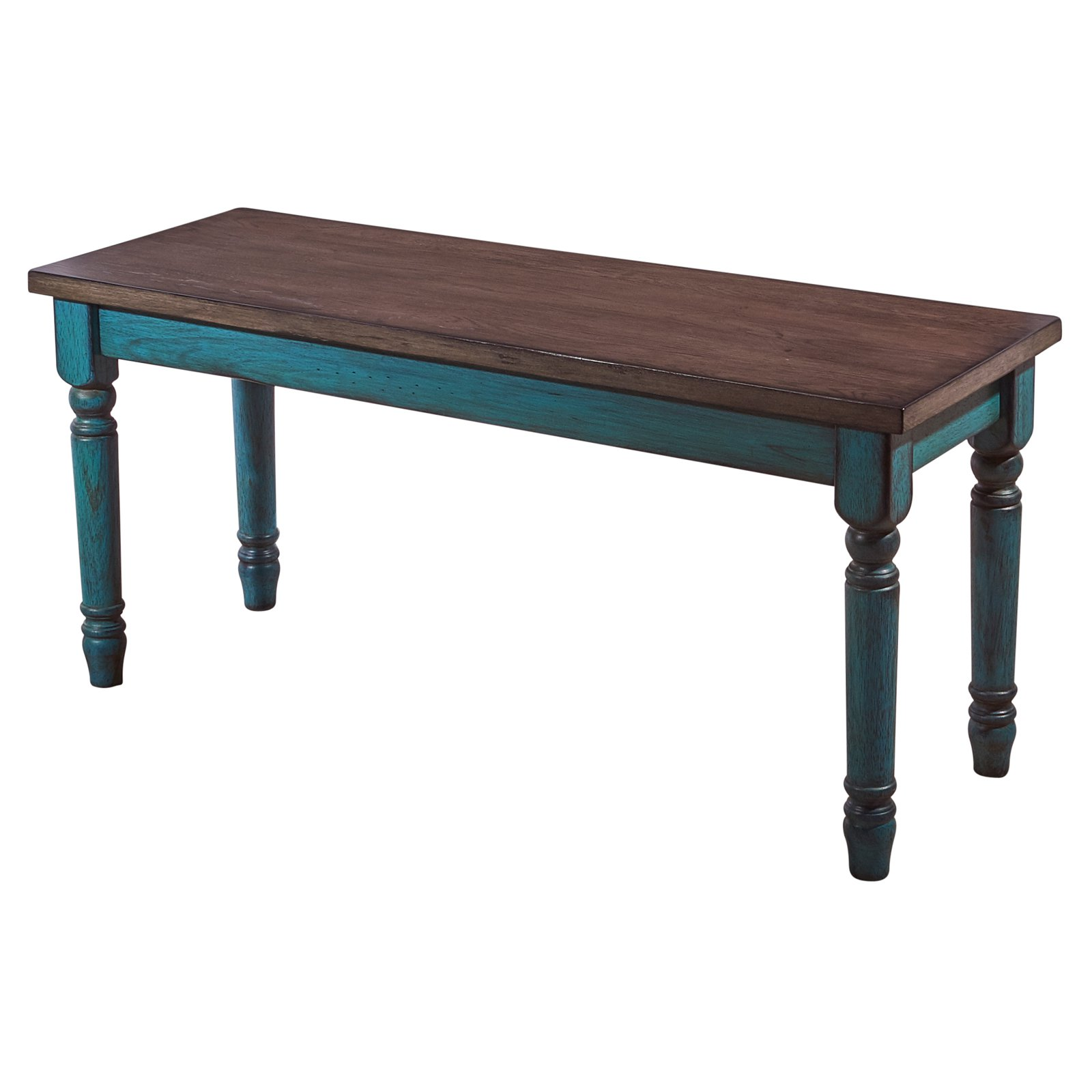 Powell Willow Wood Dining Bench, Distressed Brown And Teal Blue