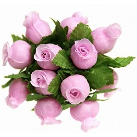 144 Poly Rose Silk Favor Flower Pick Wedding Shower - Pink (Pink Rope)