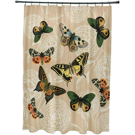 Simply Daisy 71 X 74 Antique Butterflies And Flowers Animal Print Shower Curtain