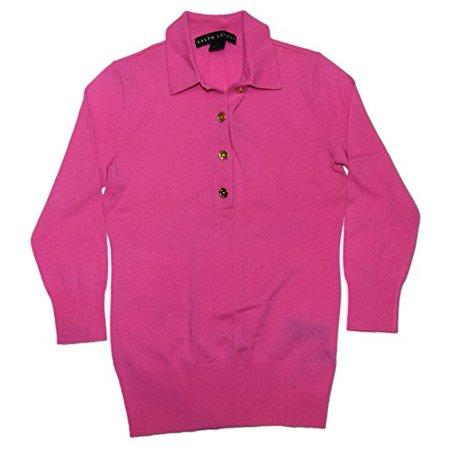 Polo Ralph Lauren Black Label Womens Cashmere Pink Gold Sweater Shirt Small Polo Ralph Lauren Black Label