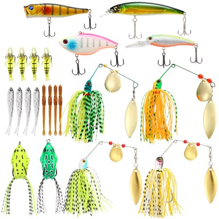 22pcs Assorted Fishing Lures Set Artificial Soft Hard Fishing Lures Baits Minnow Popper VIB Spinnerbait Lures Baits thumbnail
