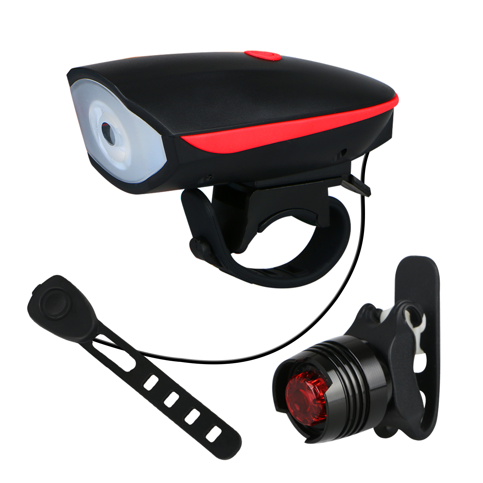 TSV Super Bright Bicycle Light Set - USB Rechargeable Bike Headlight Front Lamp and LED Red Taillight for Cycling Safety (Battery Included)