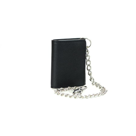 Flag Genuine Leather Chain Wallet - Men's RFID Signal Blocking Tri-Fold Motorcycle Wallet in Black Genuine Leather with Bright Nickel Color Chain
