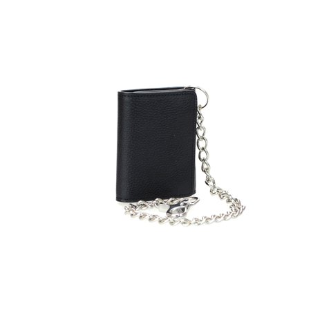 - Men's RFID Signal Blocking Tri-Fold Motorcycle Wallet in Black Genuine Leather with Bright Nickel Color Chain