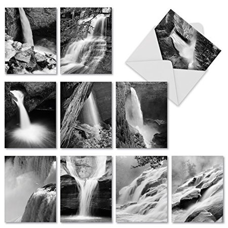 'M2312 FALLING WATERS' 10 Assorted Thank You Greeting Cards Offer Dramatic Black and White Photographic Waterfall Images with Envelopes by The Best Card