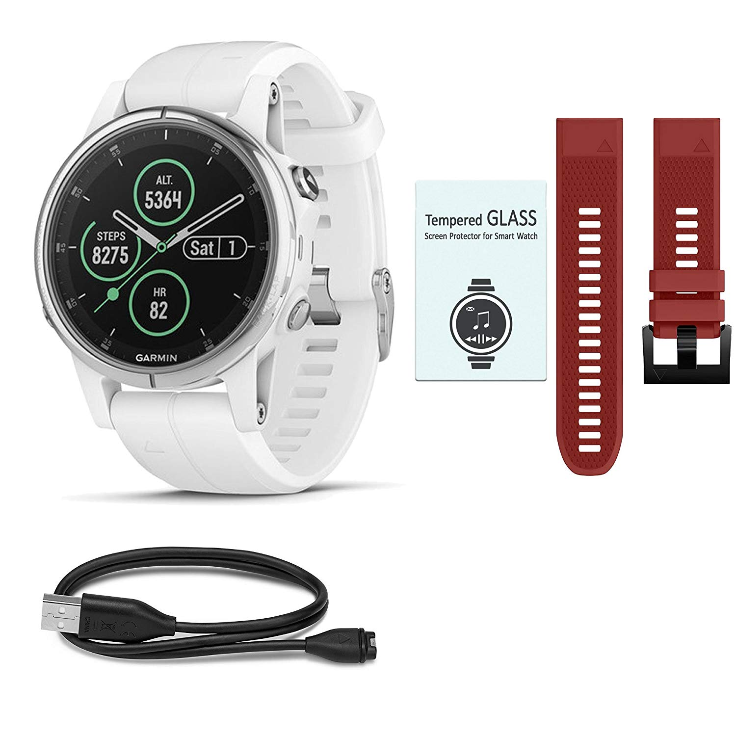 garmin fenix 5s plus sapphire white w white band red. Black Bedroom Furniture Sets. Home Design Ideas