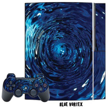 Mightyskins Protective Skin Decal Cover Sticker for Playstation 3 Console + two PS3 Controllers - Blue Vortex (Ps3 Controller Skin Weed)