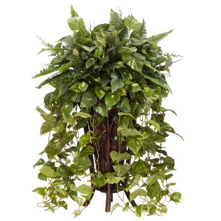 Nearly Natural Vining Mixed Greens with Decorative Stand Silk Plant ()