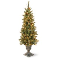 National Tree GPG3-341-40 4 ft. Glittery Gold Pine Entrance Tree with Berries, Cones & 100 Clear Lights in a Dark Bronze Pot