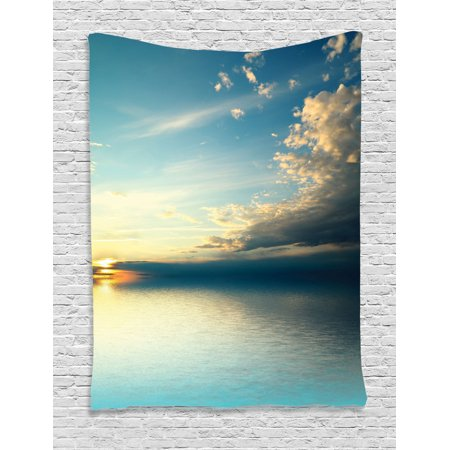 Ocean Tapestry, Panorama of Sea Sunset Sundown Reflection Horizon Dark Clouds Nature Picture, Wall Hanging for Bedroom Living Room Dorm Decor, Teal Aqua Blue, by Ambesonne ()