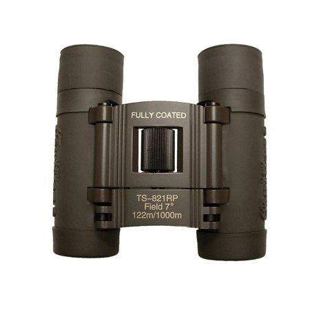 Galileo 8 x 21mm embossed Compact Binocular opens wide and narrow to bring image 10x closer. Case