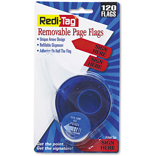 """Redi-Tag Arrow Message Page Flags in Dispenser, """"Sign Here"""", Red, 120 Flags"""