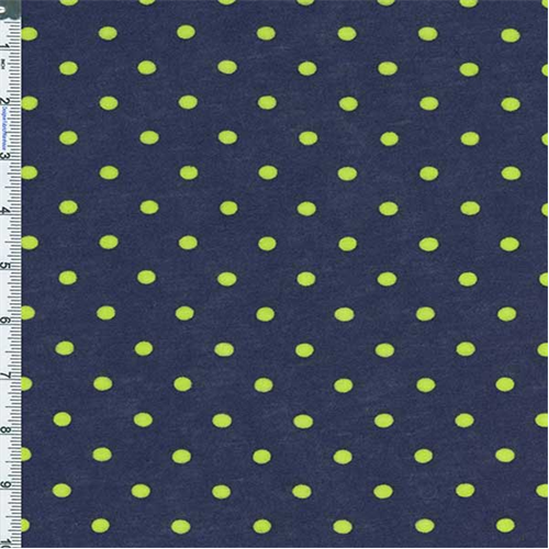 Neon Yellow-Green/Evening Blue Polka Dot Knit, Fabric By the Yard
