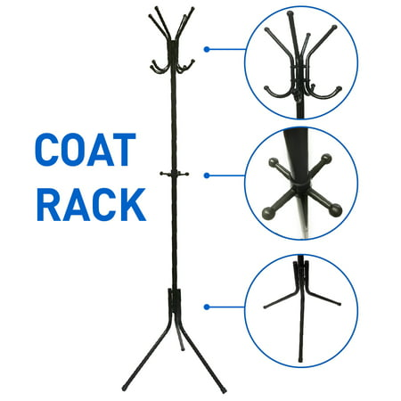 Liverpool Metal Coat Rack Stand – 6' Tall - Use with Jackets, Hats, Scarves, Purses, Suits, Umbrellas and Backpacks - -
