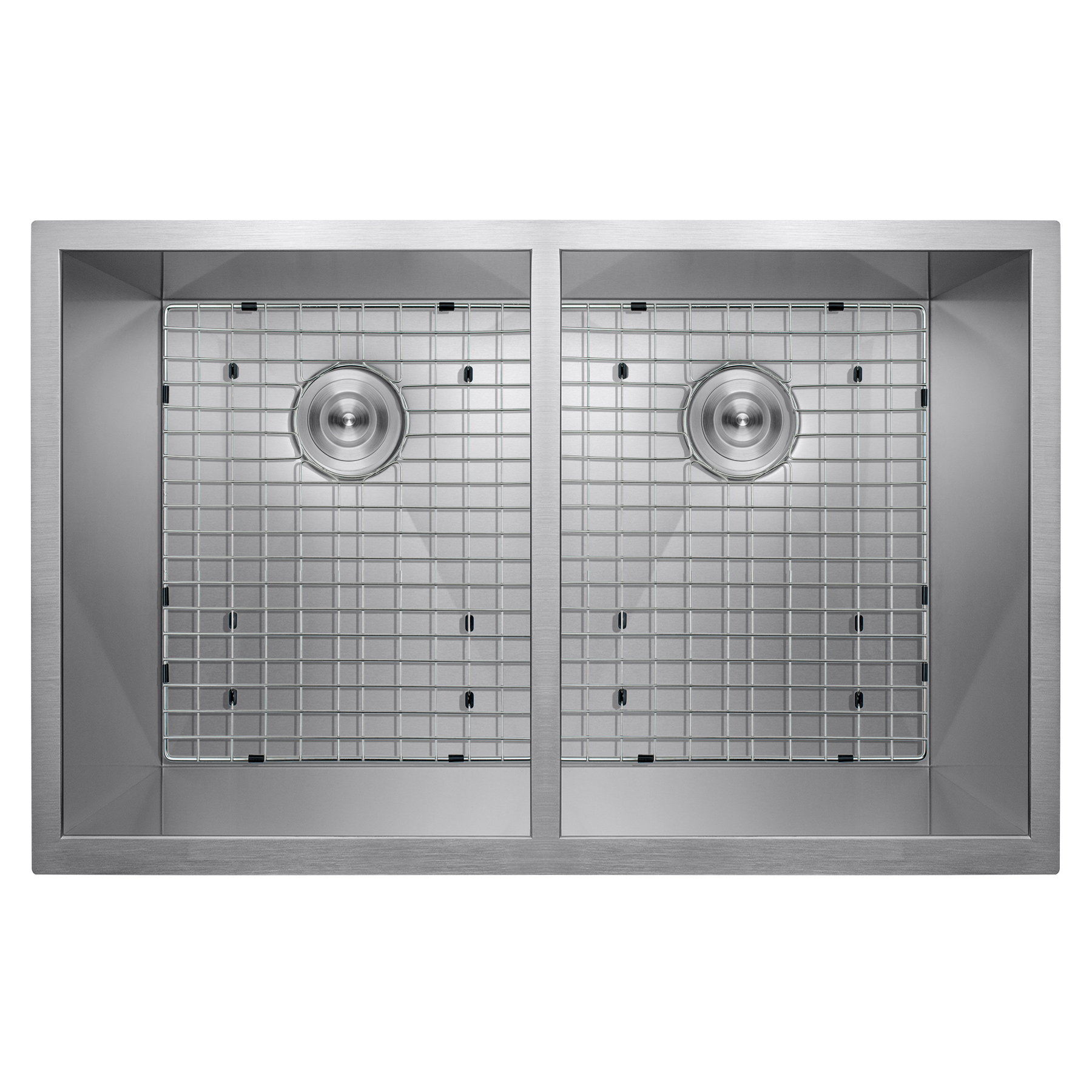 "Image of AKDY 33"" x 22"" x 9"" Handmade Under Mount Dual Basin 50/50 Stainless Steel Kitchen Sink Dish Grid w/ Drain Kit"