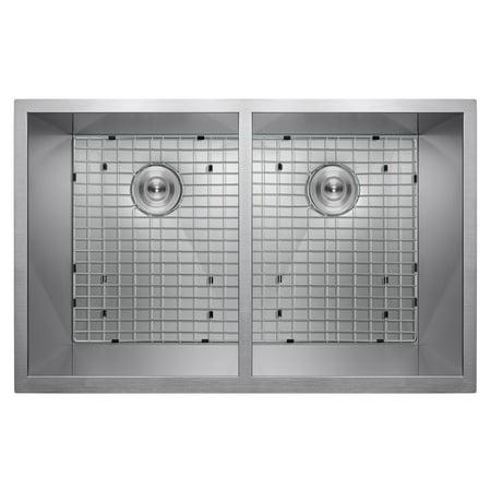 "Image of AKDY 33"" x 22"" x 9"" Handmade Under Mount Dual Basin 50/50 Stainless Steel Kitchen Sink Dish Grid w/ Drain Kit"