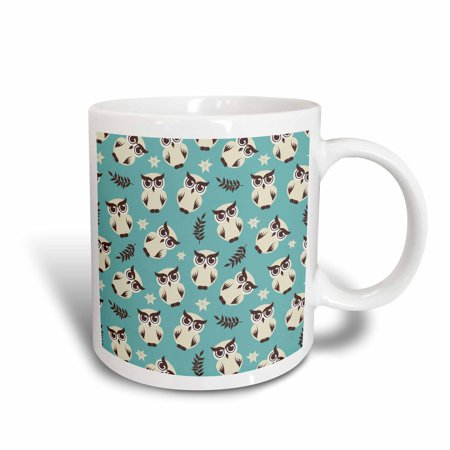 3dRose White Snow Owls and Brown Fern Leaves On Blue Background Animals Pattern Design, Ceramic Mug, 15-ounce