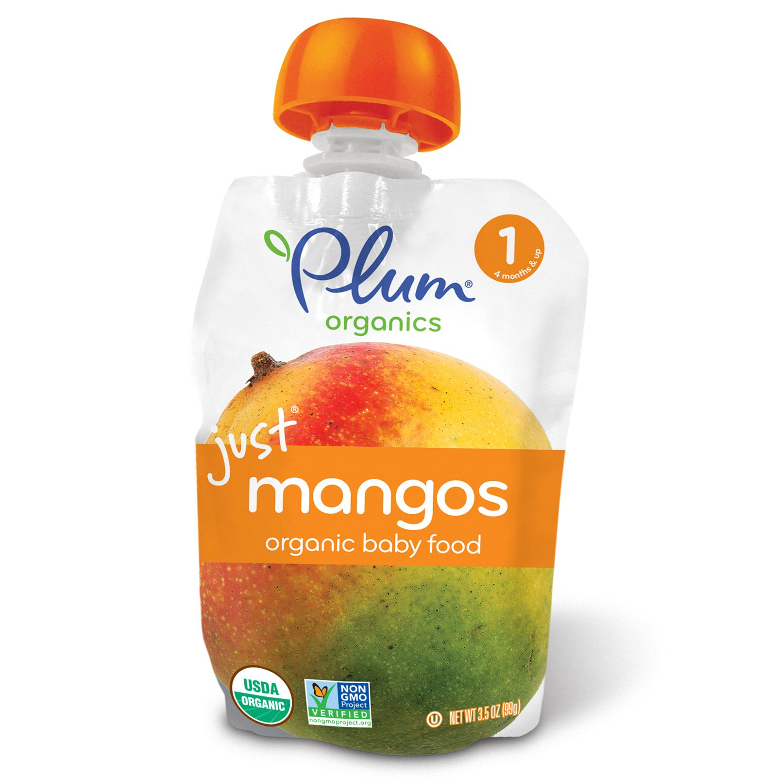 Plum Organics, Organic Baby Food, Stage 1, Just Mangos, 3.5 oz (pack of 3)