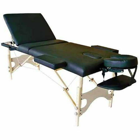 Sivan Health and Fitness Three Fold Reiki Portable Massage Table and Carrying Case, Black