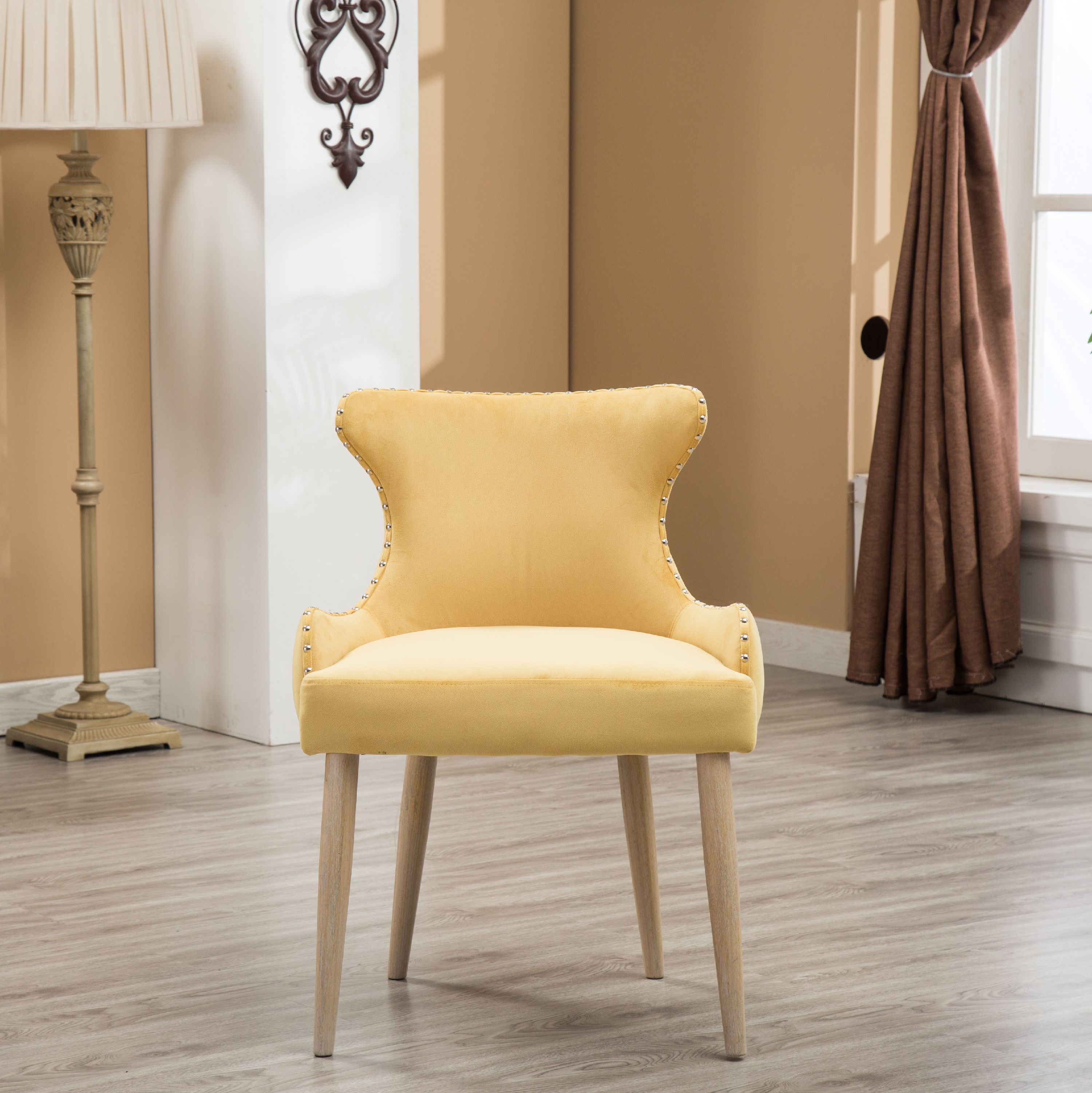 Roundhill Viking Fabric Tufted Button Back Barrel Accent