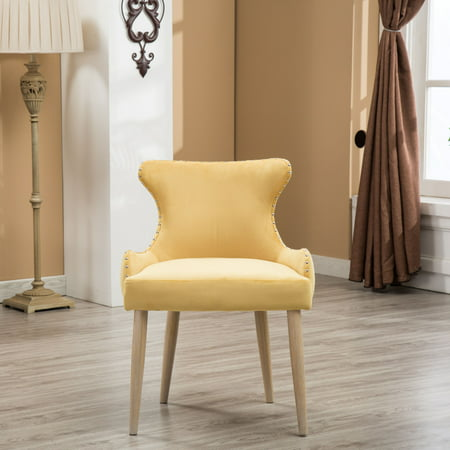 Roundhill Viking Fabric Tufted Button Back Barrel Accent Chair with Nailhead, Yellow, Single