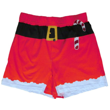 Mad Engine Mens Red Santa Claus Christmas Holiday Costume Boxer Shorts (Santa Shorts)