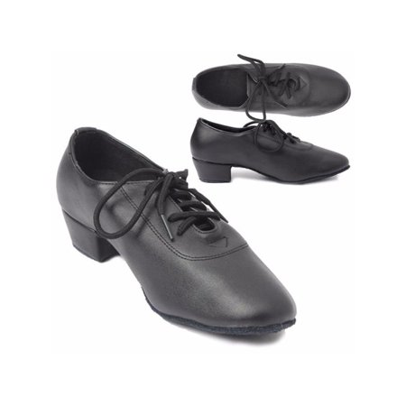 Meigar New Black Men Leather Mid Heel Kid Boy Latin Tango Salsa Waltz Ballroom Dance (Best Argentine Tango Shoes)