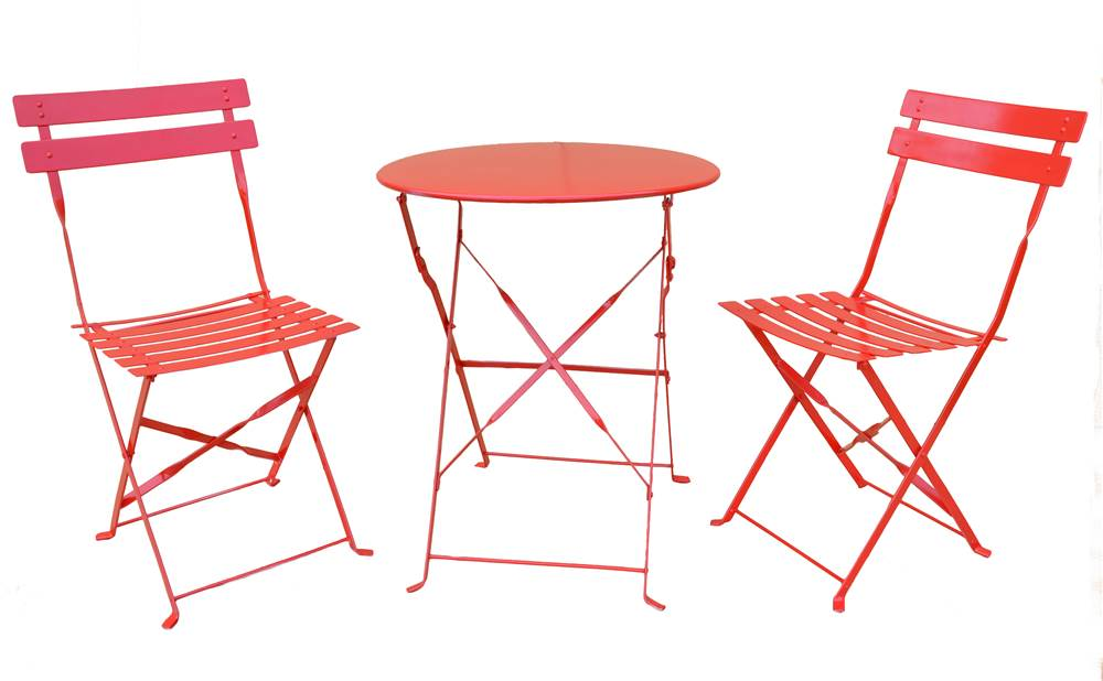 3-Pc Bistro Set in Candy Red by Carolina Chair and Table Company