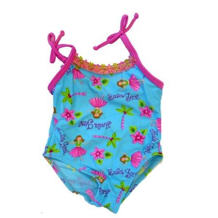 Infant Girls 1 Piece Blue Hula Girl Swim Suit Bathing & - Swim Suit Girls