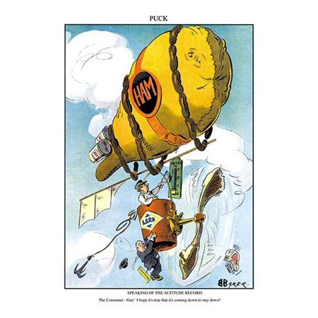 A ham doubles as a hot air ballon as a butcher rides in a can of lard  A customer holds on below hoping he can get back to the