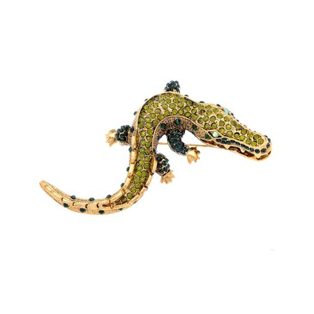 Feinuhan Yellow Golden Tone Green Rhinestones Baby Alligator Crocodile Brooch Pin