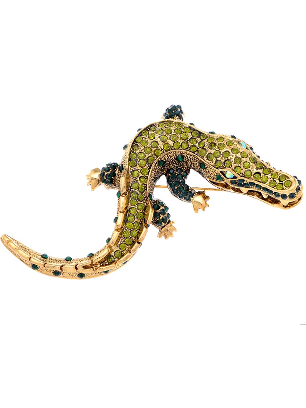 Feinuhan Yellow Golden Tone Green Rhinestones Baby Alligator Crocodile Brooch Pin
