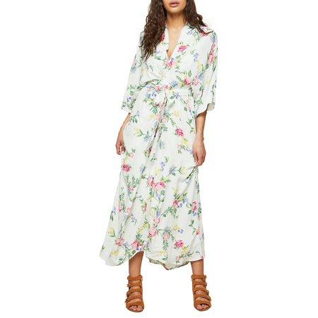 833c5bcd12a6f6 Miss Selfridge - Kimono Twist Floral Maxi Dress - Walmart.com