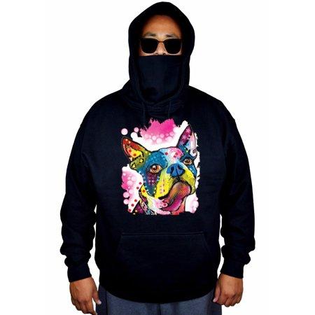 Men's Neon Boston Terrier Painting Black Mask Hoodie Sweater Large Black Airedale Terrier Mens Hoodie
