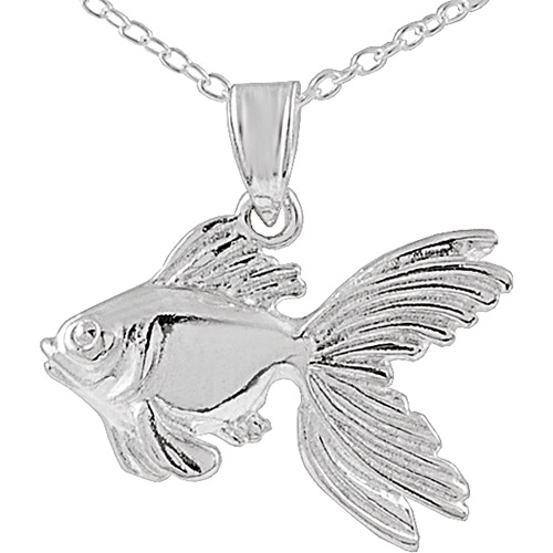 """Brinley Co. Sterling Silver Gold Fish Pendant, 18"""""""
