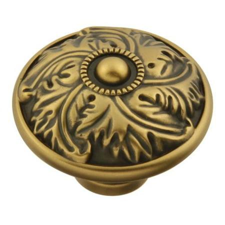 1/4 Inch Modern Brass Knob - Keeler D26 Acanthus 1-1/4 Inch Diameter Mushroom Cabinet Knob
